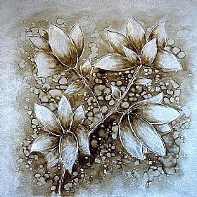 bouquet floral, variations Argent (2) - PEINTURES / Tableaux Faune & Flore