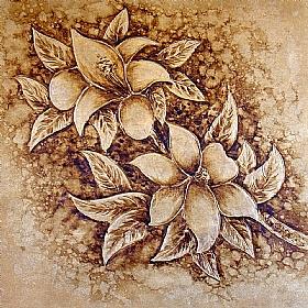 bouquet floral, variations Or (2) - PEINTURES / Tableaux Faune & Flore