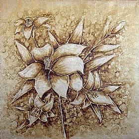 bouquet floral, Fleurs variation or - PEINTURES / Tableaux Faune & Flore