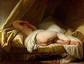 Jean-Honoré Fragonard, jeune femme dormant - GRANDS PEINTRES / Fragonard