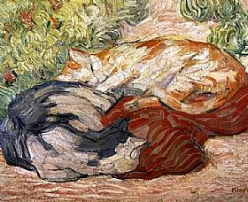 Franz Marc, Chats sur un tapis rouge - GRANDS PEINTRES / Marc
