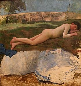 Frédéric Bazille, Jeune homme nu couché - GRANDS PEINTRES / Bazille