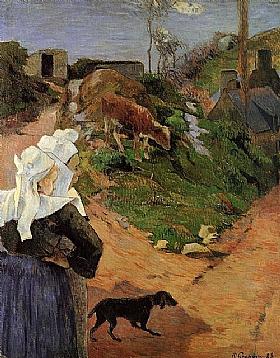 Paul Gauguin, Femmes bretonnes avec un veau - GRANDS PEINTRES / Gauguin