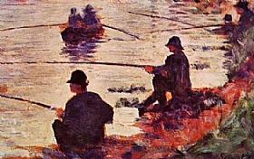 Georges Seurat, Les pêcheurs à la ligne - GRANDS PEINTRES / Seurat