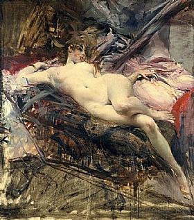 Giovanni Boldini, Femme nue allongée sur un lit - GRANDS PEINTRES / Boldini