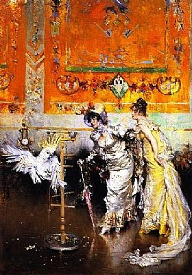 Giovanni Boldini, Femmes avec peroquet - GRANDS PEINTRES / Boldini