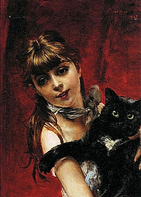Giovanni Boldini, Jeune fille et son chat - GRANDS PEINTRES / Boldini