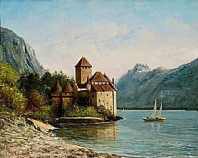 Gustave Courbet, Le château de Chillon en Suisse - GRANDS PEINTRES / Courbet
