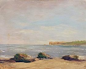Gustave Courbet, Plage à Etretat - GRANDS PEINTRES / Courbet