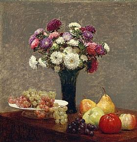Henri Fantin-Latour, Asters et fruits sur une table - GRANDS PEINTRES / Fantin-Latour