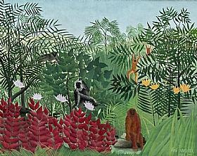 Henri Rousseau, Foret tropicale avec des singes - GRANDS PEINTRES / Rousseau