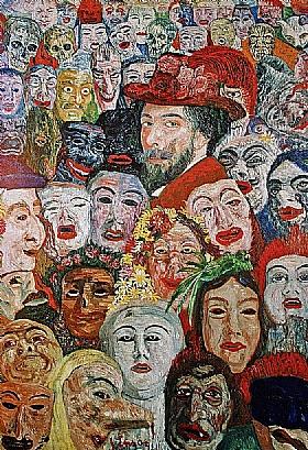 James Ensor, Autoportrait avec masques - GRANDS PEINTRES / Ensor