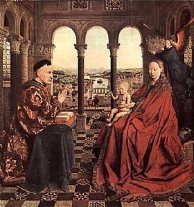 Jan Van Eyck, Vierge au chancelier Rolin - GRANDS PEINTRES / Van Eyck