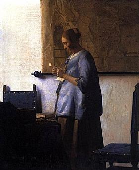 Johannes Vermeer, Femme en bleu lisant une lettre - GRANDS PEINTRES / Vermeer
