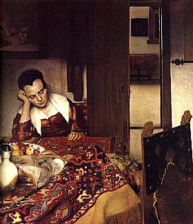 Johannes Vermeer, Femme endormie sur une table - GRANDS PEINTRES / Vermeer