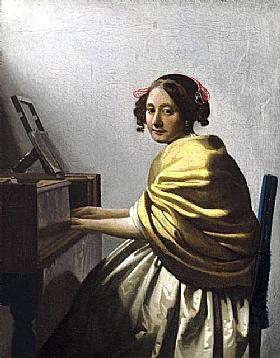 Johannes Vermeer, Femme assise au virginal - GRANDS PEINTRES / Vermeer