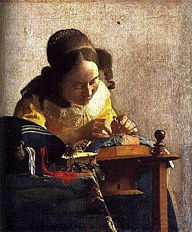 Johannes Vermeer, La dentellière - GRANDS PEINTRES / Vermeer