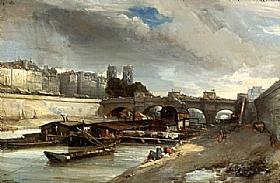 Johan Barthold Jongkind, Bateau-Lavoir au Pont Neuf - GRANDS PEINTRES / Jongkind