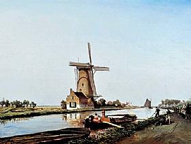 Johan Barthold Jongkind, Canal et moulin en Hollande - GRANDS PEINTRES / Jongkind