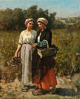 Jules Breton, Deux femmes dans les vignes - GRANDS PEINTRES / Breton
