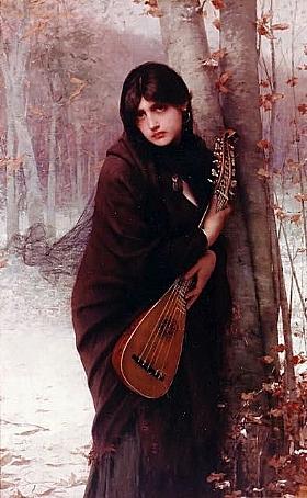 Jules Joseph Lefebvre, Jeune fille à la mandoline - GRANDS PEINTRES / Lefebvre