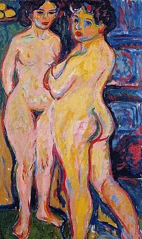 Ernst-Ludwig Kirchner, femmes nues devant un poele - GRANDS PEINTRES / Kirchner