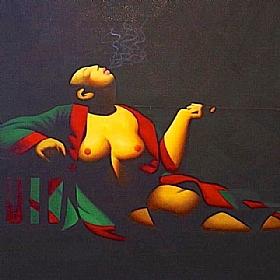 L'opium du peuple, femme dévêtue et pipe à opium - PEINTURES / Tableaux Asie