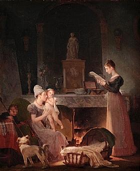 Marguerite Gérard, La lecture d'une lettre - GRANDS PEINTRES / Gérard