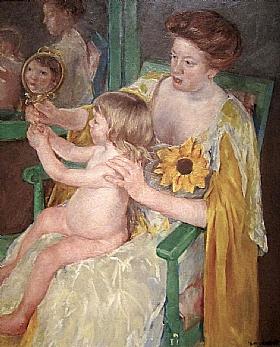 Mary Cassatt, Mère et enfant au miroir - GRANDS PEINTRES / Cassatt