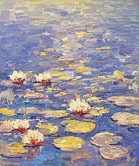 Fleurs et Nature, Nymphéas au soleil couchant - PEINTURES / Tableaux Faune & Flore