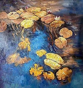 Fleurs et Nature, Nymphéas fond bleu - PEINTURES / Tableaux Faune & Flore