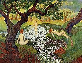 Paul-Elie Ranson, Trois baigneuses parmi les iris - GRANDS PEINTRES / Ranson