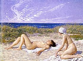 Paul Gustav Fischer, Bain de soleil sur la dune - GRANDS PEINTRES / Fischer