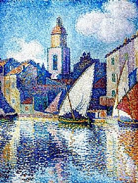 Paul Signac, Le clocher du port de St Tropez - GRANDS PEINTRES / Signac