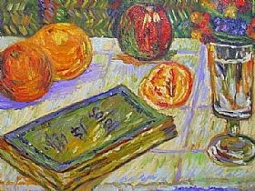 Paul Signac, Nature morte au livre et oranges - GRANDS PEINTRES / Signac
