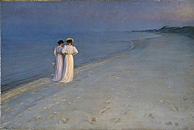 Peder Severin Kroyer, Nuit d'été plage de Skagen - GRANDS PEINTRES / Kroyer