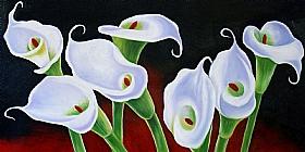 fleurs, Les Lys blancs - PEINTURES / Tableaux Faune & Flore