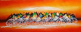 Le peloton du tour de France, Le Sprint - PEINTURES / Tableaux Abstraits