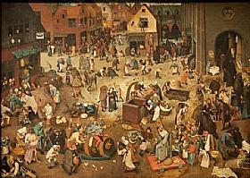 Pieter Bruegel dit l'Ancien, Le Combat de Carnaval et Carême - GRANDS PEINTRES / Bruegel