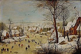 Pieter Bruegel dit l'Ancien, Paysage d'hiver avec piège à oiseaux - GRANDS PEINTRES / Bruegel