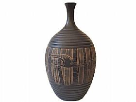 vase en poterie noire, grues et bouleaux - SCULPTURES / Céramiques