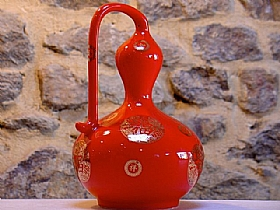 Céramique rouge glacée, calebasse heureuse - SCULPTURES / Céramiques