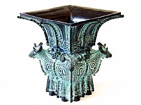 vase en bronze, quatre chèvres Zun - SCULPTURES / Bronzes