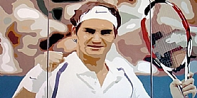 Le gentleman du tennis, Roger Federer - PEINTURES / Tableaux Sports