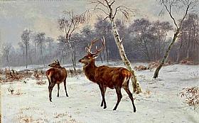 Rosa Bonheur, Biche et cerf dans la neige - GRANDS PEINTRES / Bonheur
