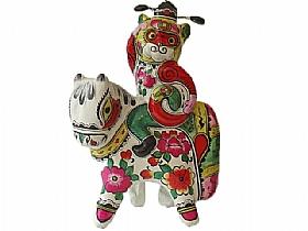 sculpture en argile,  le singe sur le cheval - SCULPTURES / Céramiques