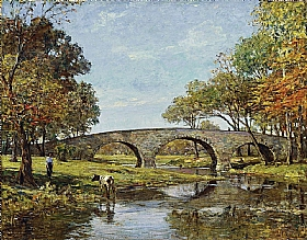 Theodore Robinson, Le vieux pont - GRANDS PEINTRES / Robinson