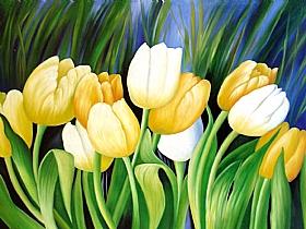 Nature et Flore, Tulipes blanches et jaunes - PEINTURES / Tableaux Faune & Flore