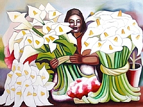 Composition florale, la vendeuse de fleurs (Arums) - GRANDS FORMATS / 75cm x 100cm