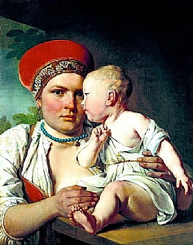 Alexey Venetsianov, Nourrice avec un enfant - GRANDS PEINTRES / Venetsianov